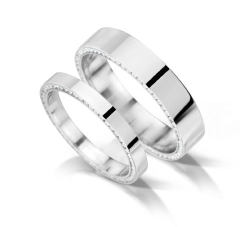 Flat with inset edge channel eternity/wedding ring, platinum. 5mm x 1.7mm.